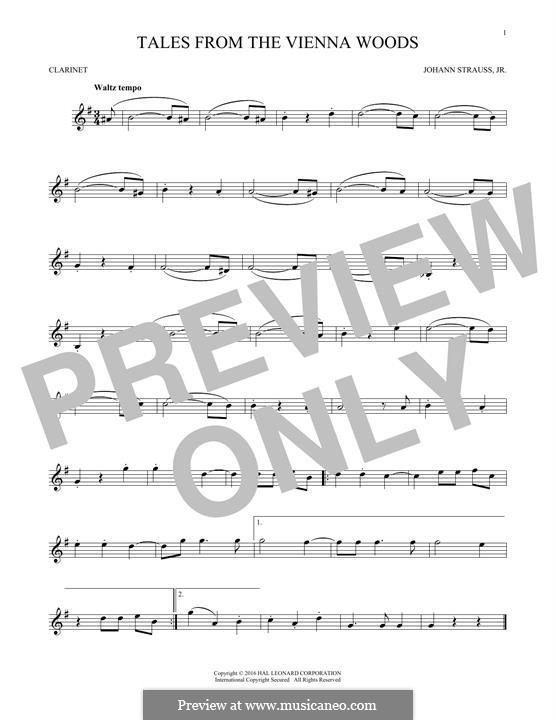 Geschichten aus dem Wienerwald, Op.325: For clarinet (fragment) by Johann Strauss (Sohn)