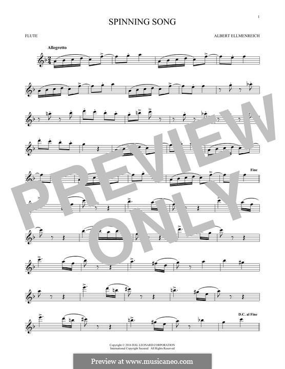 Spinnerlied: Für Flöte by Albert Ellmenreich