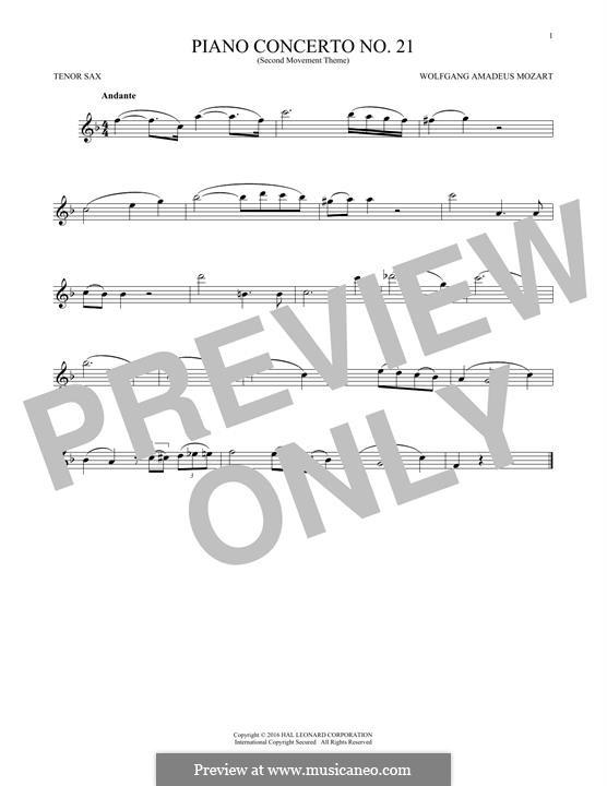 Konzert für Klavier und Orchester Nr.21 in C-Dur, K.467: Movement II (Excerpt). Version for tenor saxophone by Wolfgang Amadeus Mozart