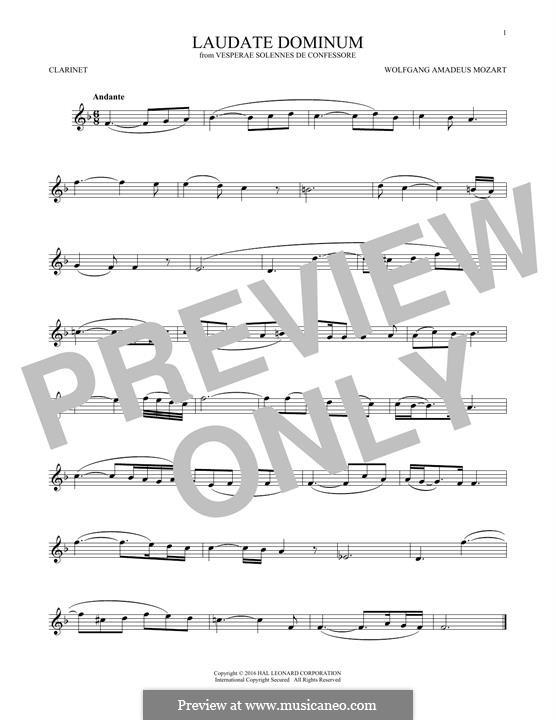 Vesperae solennes de confessore, K.339: Laudate Dominum, for clarinet by Wolfgang Amadeus Mozart