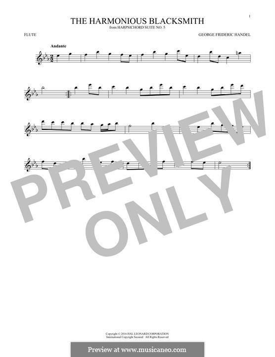 Suite Nr.5 in E-Dur, HWV 430: Theme, for flute by Georg Friedrich Händel