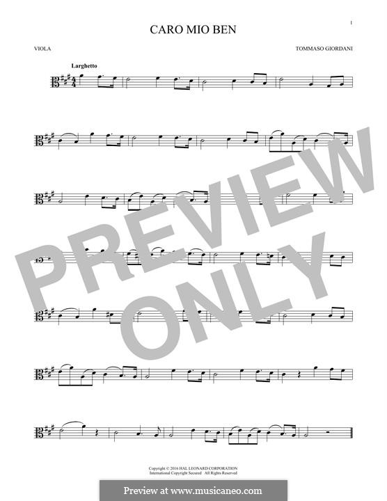 Caro mio ben (O Maiden Dear): For viola by Tommaso Giordani