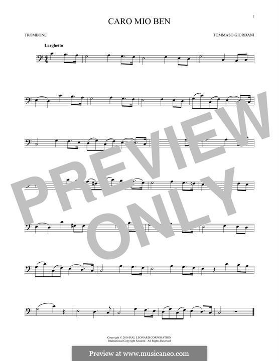Caro mio ben (O Maiden Dear): For trombone by Tommaso Giordani