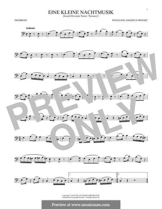 Romanze: For trombone by Wolfgang Amadeus Mozart