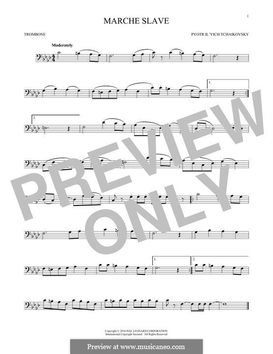Slawischer Marsch, TH 45 Op.31: Arrangement for trombone (Fragment) by Pjotr Tschaikowski