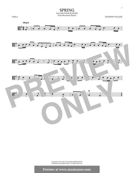 Violin Concerto No.1 in E Major 'La primavera' (Printable Scores): Movement I (Theme), for viola by Antonio Vivaldi
