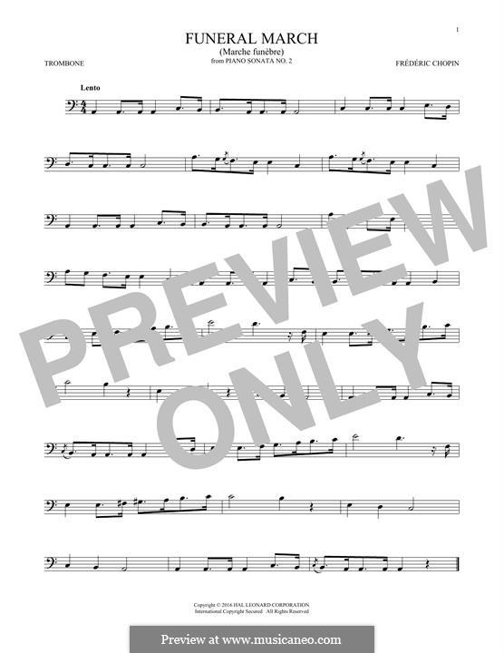 Sonate für Klavier Nr.2 in b-Moll, Op.35: Movement III (Theme), for trombone by Frédéric Chopin