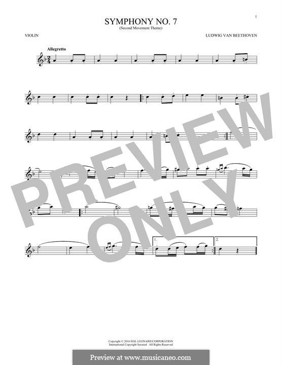Teil II: Theme. Version for violin by Ludwig van Beethoven