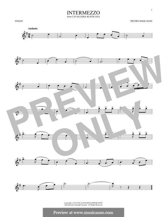 Cavaleria rusticana: Intermezzo, for violin by Pietro Mascagni