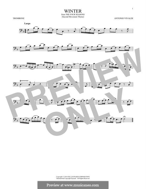 Violinkonzert Nr.4 in f-Moll 'Winter', RV 297: Movement II. Arrangement for trombone (Theme) by Antonio Vivaldi
