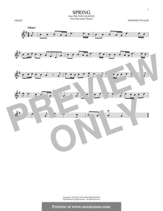 Violin Concerto No.1 in E Major 'La primavera' (Printable Scores): Movement I (Theme), for violin by Antonio Vivaldi