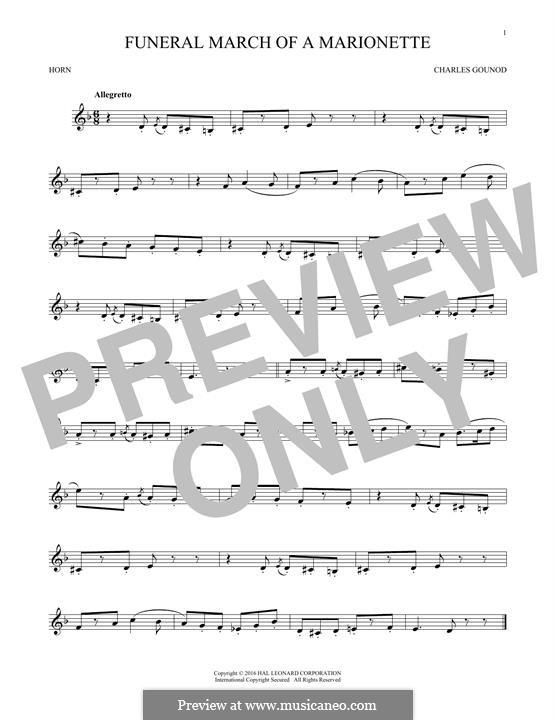 Trauermarsch einer Marionette: For horn by Charles Gounod
