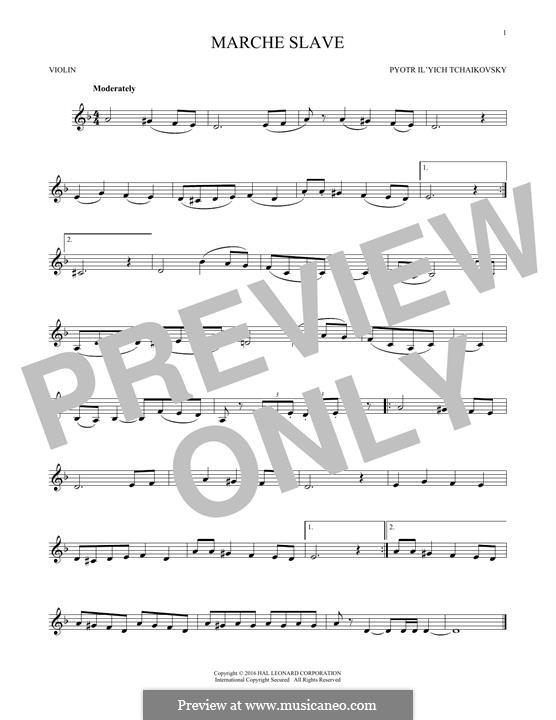 Slawischer Marsch, TH 45 Op.31: Arrangement for violin (Fragment) by Pjotr Tschaikowski