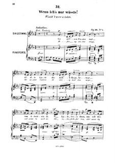 Sechs Gesänge, Op.26: Nr.1 Wenn ich's nur wüsste  by Robert Franz