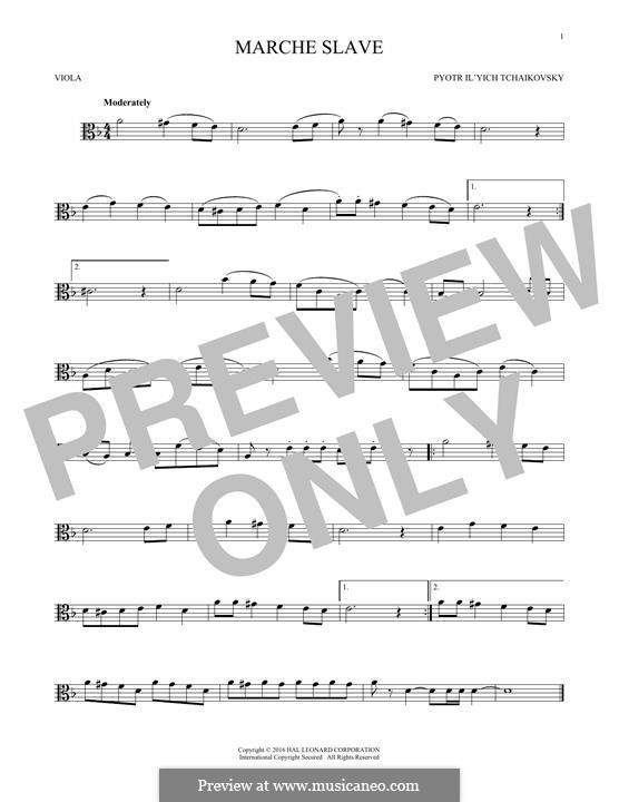 Slawischer Marsch, TH 45 Op.31: Arrangement for viola (Fragment) by Pjotr Tschaikowski