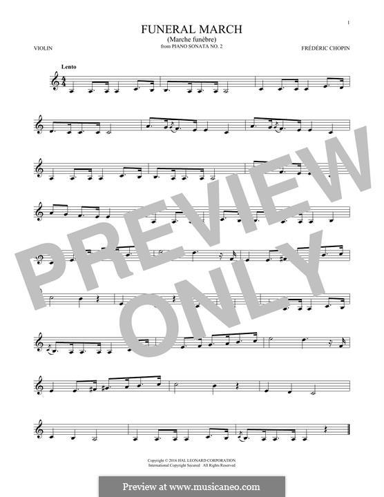 Sonate für Klavier Nr.2 in b-Moll, Op.35: Movement III (Theme), for violin by Frédéric Chopin