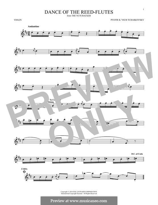 Nr.7 Tanz der Mirlitons: Für Violine by Pjotr Tschaikowski