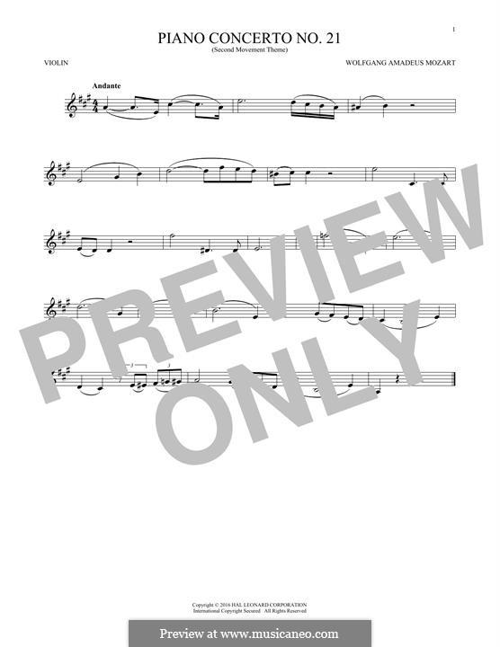Konzert für Klavier und Orchester Nr.21 in C-Dur, K.467: Movement II (Excerpt). Version for violin by Wolfgang Amadeus Mozart