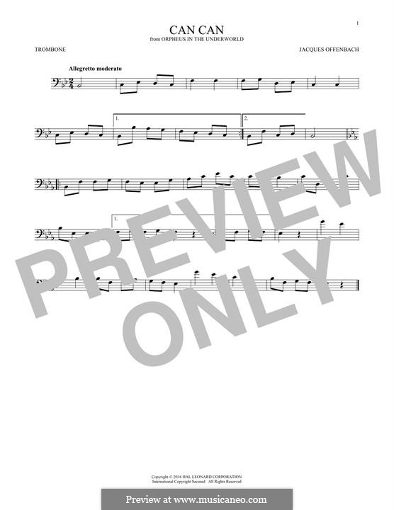 Cancan: For trombone by Jacques Offenbach