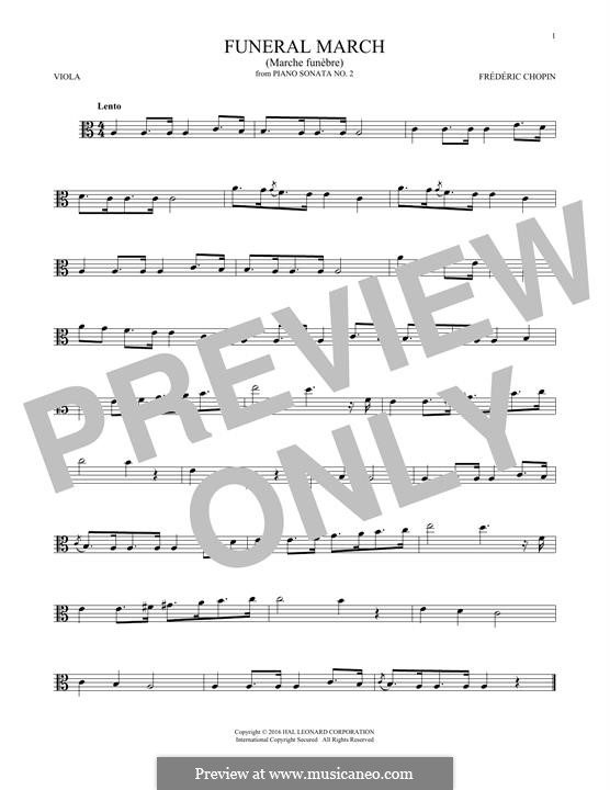Sonate für Klavier Nr.2 in b-Moll, Op.35: Movement III (Theme), for viola by Frédéric Chopin