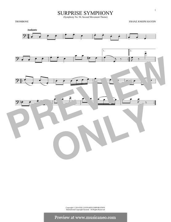 Teil II: Theme, for trombone by Joseph Haydn