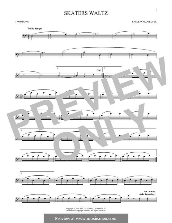 The Skaters Waltz: For trombone by Emil Waldteufel