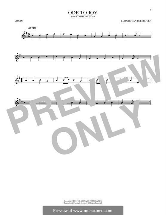 Ode an die Freude: Version for violin by Ludwig van Beethoven