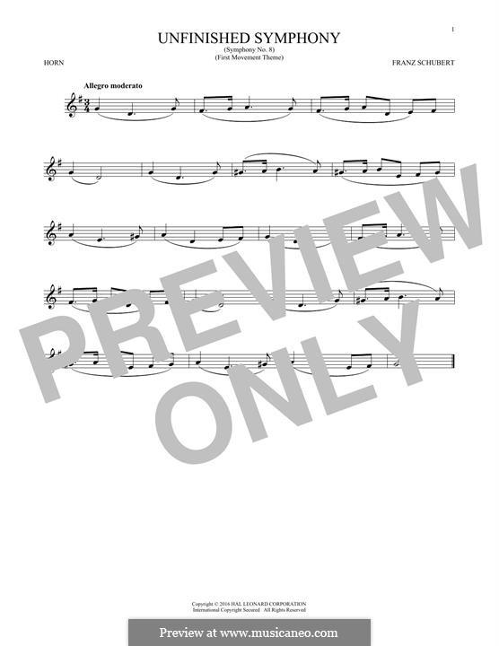 Sinfonie Nr.8 in h-Moll 'Unvollendete', D.759: Theme. Version for horn by Franz Schubert