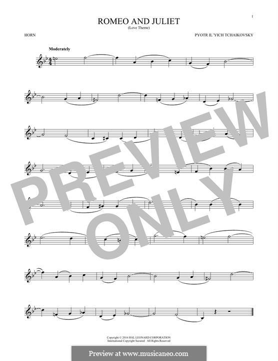 Love Theme: Arrangement for horn by Pjotr Tschaikowski