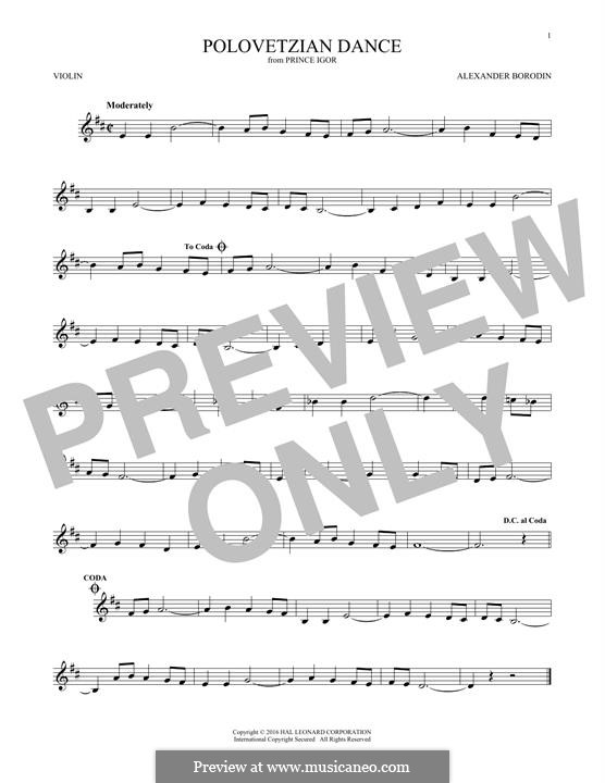 Die Polowetzer Tänze: Theme, for violin by Alexander Porfiryevich Borodin