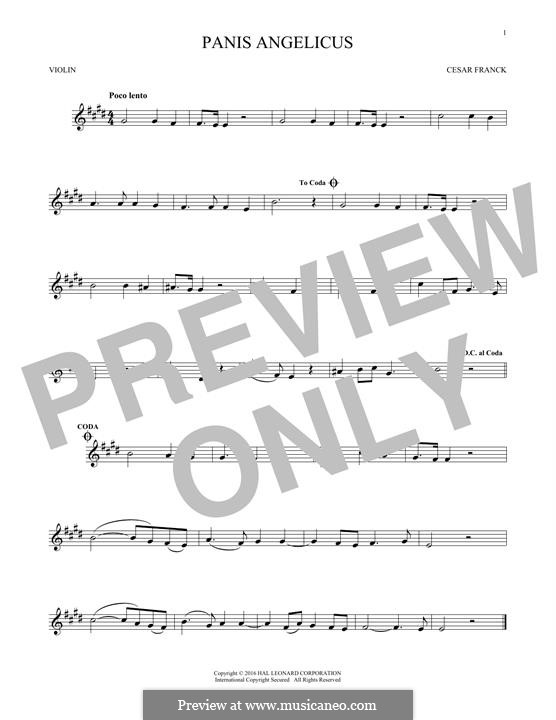 Panis Angelicus (O Lord Most Holy), Printable Scores: Für Violine by César Franck