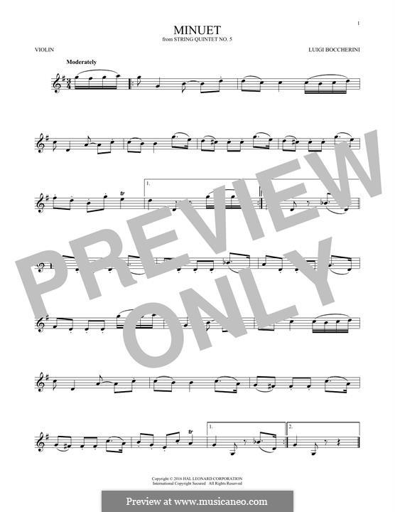Streichquintett Nr.5 in E-Dur, G.275 Op.107: Minuet, for violin by Luigi Boccherini