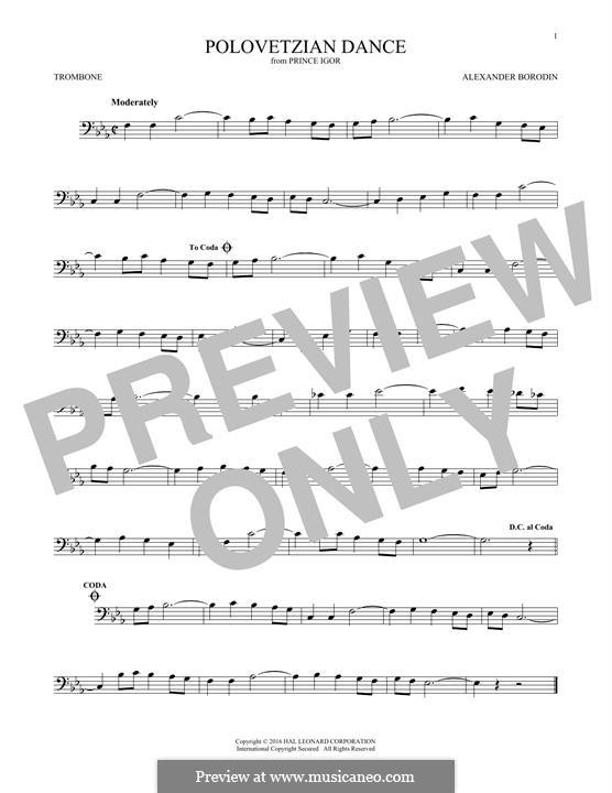 Die Polowetzer Tänze: Theme, for trombone by Alexander Porfiryevich Borodin
