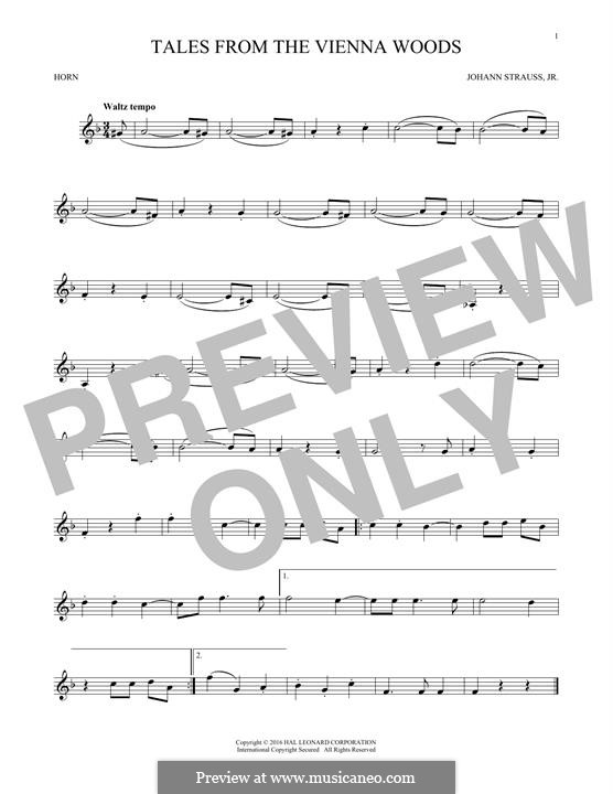 Geschichten aus dem Wienerwald, Op.325: For horn (fragment) by Johann Strauss (Sohn)