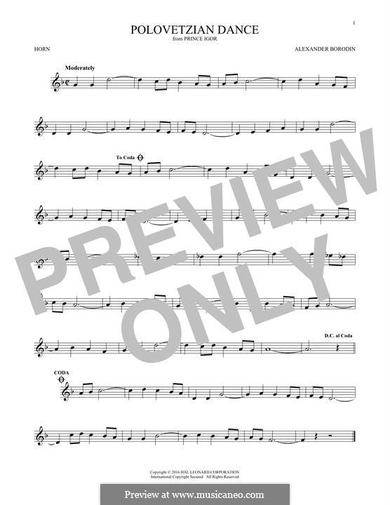 Die Polowetzer Tänze: Theme, for horn by Alexander Porfiryevich Borodin