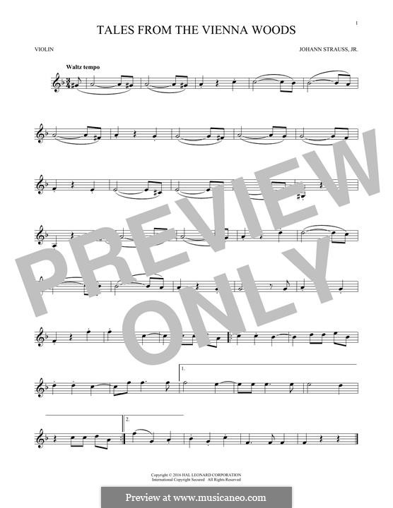 Geschichten aus dem Wienerwald, Op.325: For violin (fragment) by Johann Strauss (Sohn)
