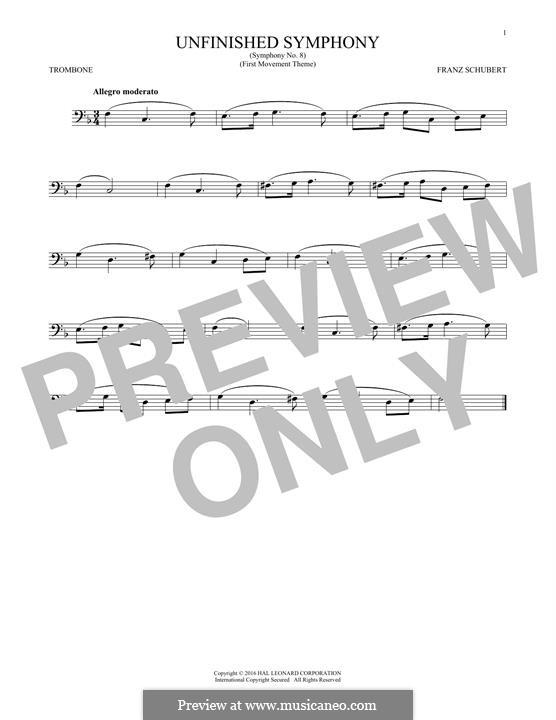 Sinfonie Nr.8 in h-Moll 'Unvollendete', D.759: Theme. Version for trombone by Franz Schubert