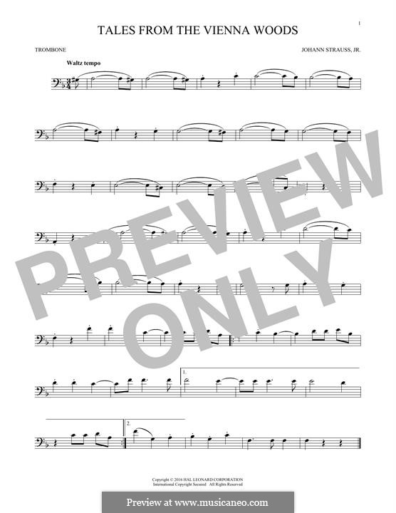 Geschichten aus dem Wienerwald, Op.325: For trombone (fragment) by Johann Strauss (Sohn)