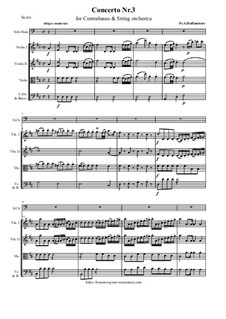 Concerto Nr.3 for Double Bass and String orchestra in D Major: Score and parts by Franz Anton Hoffmeister