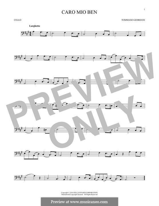 Caro mio ben (O Maiden Dear): Für Cello by Tommaso Giordani