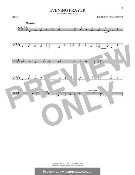 Evening Prayer: Für Cello by Engelbert Humperdinck