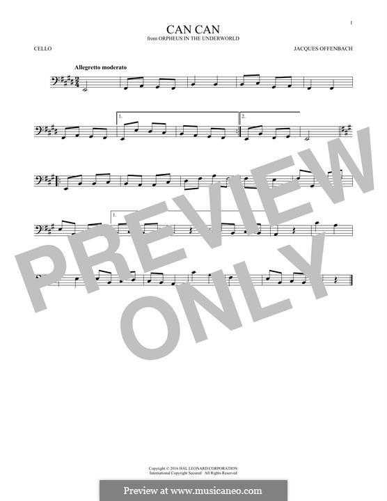 Cancan: Für Cello by Jacques Offenbach