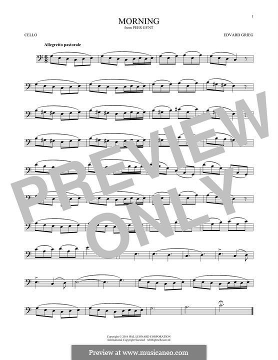 Suite Nr.1. Morgenstimmung, Op.46 No.1: Für Cello by Edvard Grieg