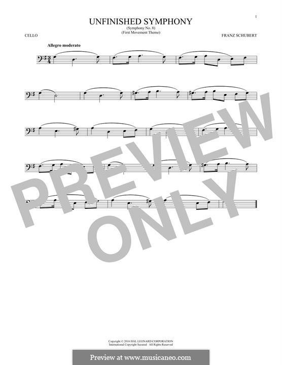 Sinfonie Nr.8 in h-Moll 'Unvollendete', D.759: Theme. Version for cello by Franz Schubert
