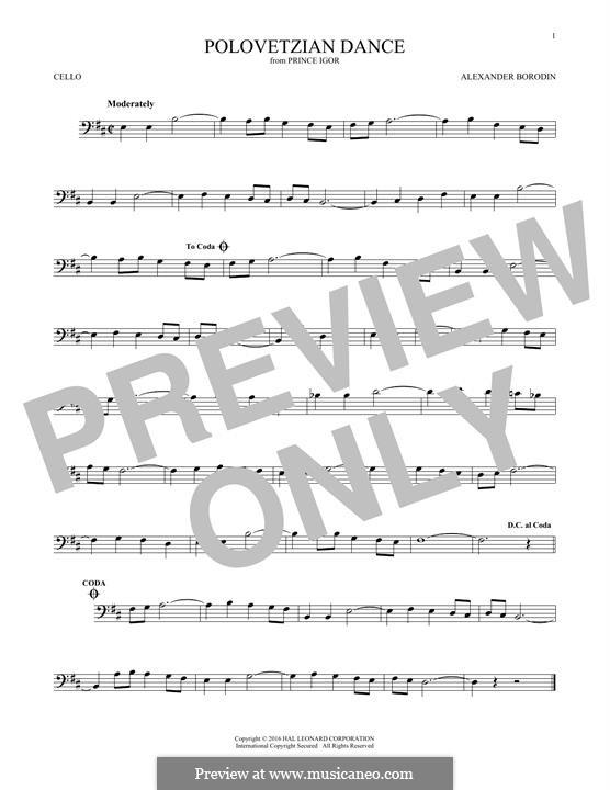 Die Polowetzer Tänze: Theme, for cello by Alexander Porfiryevich Borodin