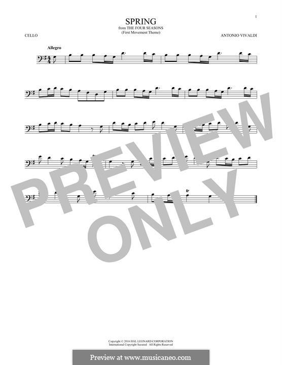 Violin Concerto No.1 in E Major 'La primavera' (Printable Scores): Movement I (Theme), for cello by Antonio Vivaldi