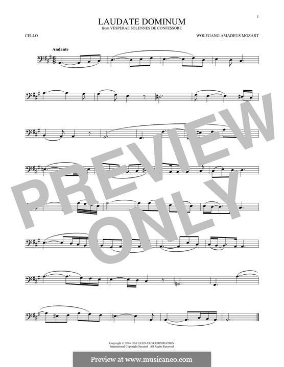 Vesperae solennes de confessore, K.339: Laudate Dominum, for cello by Wolfgang Amadeus Mozart