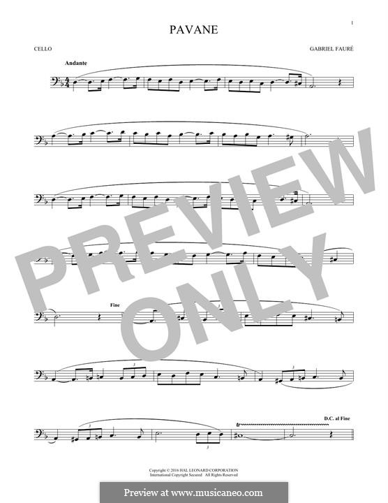 Pavane, Op.50: Theme, for cello by Gabriel Fauré