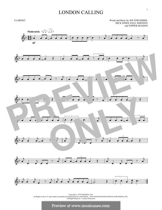 London Calling (The Clash): Für Klarinette by Joe Strummer, Mick Jones, Paul Simonon, Topper Headon