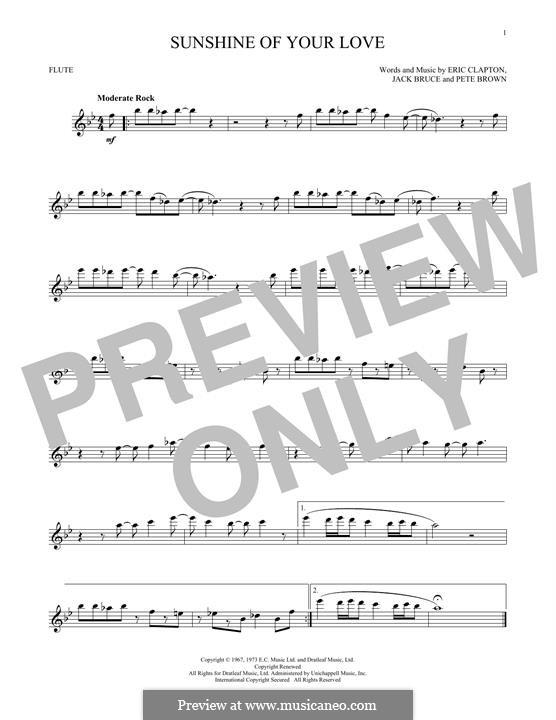 Sunshine of Your Love (Cream): Für Flöte by Eric Clapton, Jack Bruce, Pete Brown